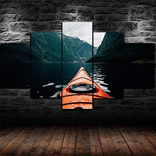 MSKJFD 5 Piezas Material Tejido No Tejido Impresión Artística Imagen Gráfica Decor Pared Mural Moderno Decor Hogareña Regalo Navidad Canoa Escandinavia Naturaleza Río Agua