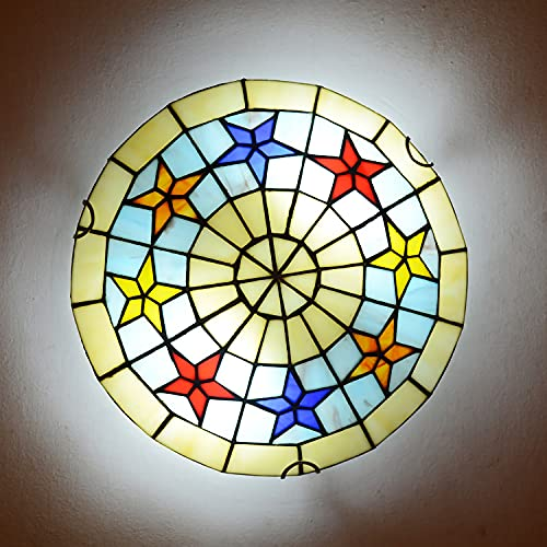 Lámpara de Techo LED Retro, Plafón Techo LED Estilo Tiffany para Dormitorio Sala de Estar Vintage E27 con Pantalla Redonda de Vitrales, Lámpara Colgante para Comedor, Cocina, Pasillo,50cm
