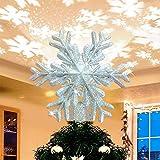SevenAndEight Natale Decorazione per Albero, proiettore per Albero di Natale Rotante con proiettore a Fiocchi di Neve per Decorazioni per Alberi di Natale - Argento
