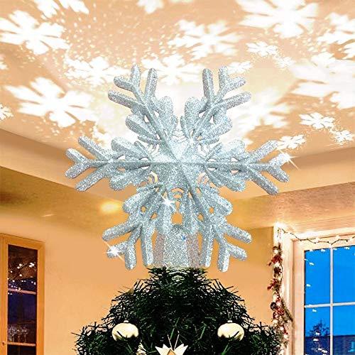 SevenAndEight Weihnachtsbaumspitze Schneeflocke mit led Projektion von dynamischen Schneeflocke Lichteffekte, Christbaumspitze mit Stromstecker - Silber