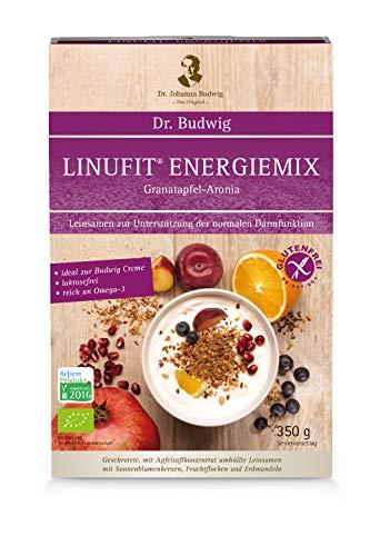 Dr. Budwig Linufit Energiemix Granatapfel-Aronia - Das Original - Für die Darmgesundheit und Darmpflege - Mit einem hohen Gehalt an Ballaststoffen, 350 Gramm
