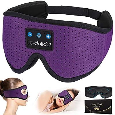 WU-MINGLU Sleep Headphones with Timer, Bluetooth 3D Sleep Eye Mask,Wireless Music Sleeping Headphones Blindfold with Voice Control & Built-in HD Speakers Microphone,Great for Travel/Nap/Side Sleepers by WUMINGLU