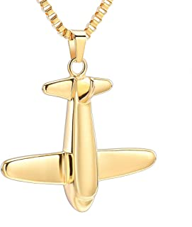 Airplane Pendant Cremation Jewelry for Ashes Stainless Steel Memorial Keepsake Urn Necklace
