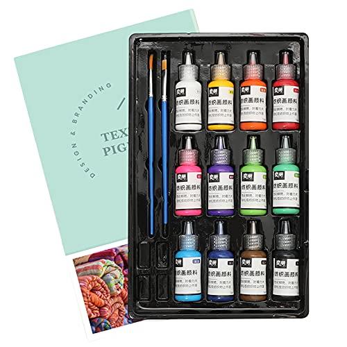 Fesjoy Pintura de Tela, Juego de Pintura de Tela de 12 Colores, Pintura acrílica Lavable no tóxica con 2 Pinceles de 18 ml/Botella para Tela Textil, Lienzo de Ropa