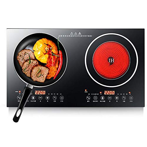 Gdrasuya10 Double Induction Cooktop Sensor Touch Stove Ultra-thin Body, Independent Control,8 Temperature Levels, Multiple Power Levels, Safety Lock,Fashion Design Easy to Clean, Double, Black