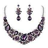 EVER FAITH Women's Austrian Crystal Teardrop Camellia Necklace Earrings Set Purple Silver-Tone