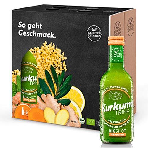 Kloster Kitchen CurcumaTRINK Bigshot - Boisson au curcuma gingembre 6 x 250 ml, 12 coups par bouteille, avec des vrais morceaux de gingembre, lot de 6, bio et végétalien