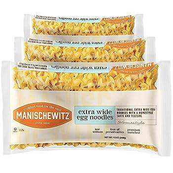Manischewitz Traditional Extra Wide Egg Noodles 12oz  3 Pack  Homestyle Taste & Texture Premium Enriched Low Sodium No Preservatives
