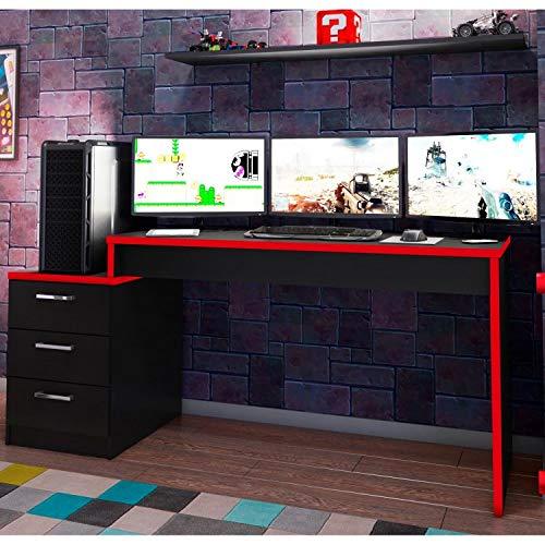 Mesa para Computador Desk Gamer DRX 6000 Espresso Móveis Álamo/Preto/Vermelho