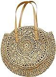xqkj Borsa a tracolla da donna, rotonda, in rattan intrecciato, facile da trasportare, borsa da spiaggia, borsa da spiaggia rotonda estiva, Marrone (marrone), Small