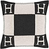 Pillowcase Decorative Throw Pillow H Pillow Case Cushion Cover Suitable for Car Sofa Bedroom 17.5' x 17.5'Inch Black