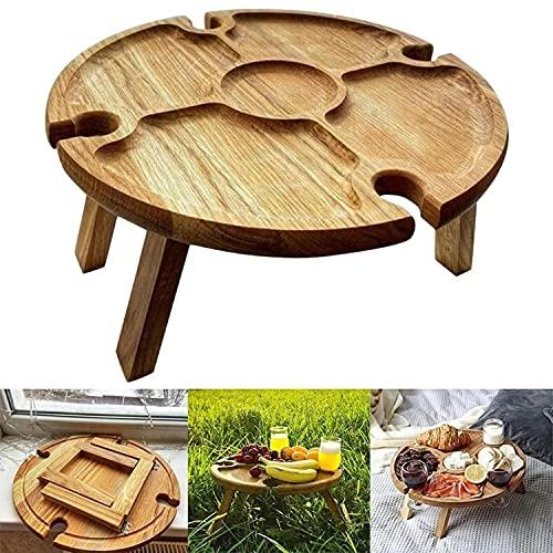 Puhui Mesa plegable de camping de madera, mesa auxiliar portátil de jardín con soporte para botellas, mesa de vino al aire libre, mesa plegable para camping, jardín, viajes, picnic, playa