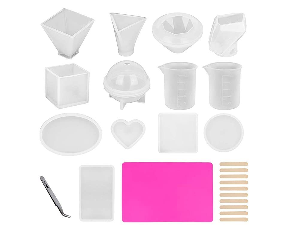 11 Pack Resin Casting Molds, Silicone DIY Craft Molds, Include Spherical, Cubic, Diamond, Pyramid,Triangular Pyramid, Stone, Round, Square, Rectangle, Ellipse & Heart Shaped with 14pcs Tools
