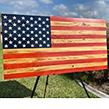 Handmade Wooden American Flag, Painted or Carved Stars, Indoor/Outdoor Rustic Wall Art, Large, X-Large, Wood Decor, Great Gift!