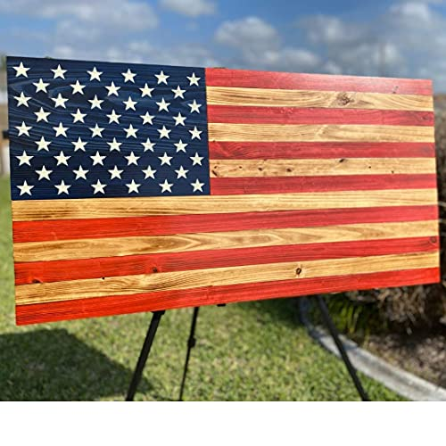 Wooden American Flag Burnt Finish Hand Made Painted Rustic Wood Border 12.5 x 7