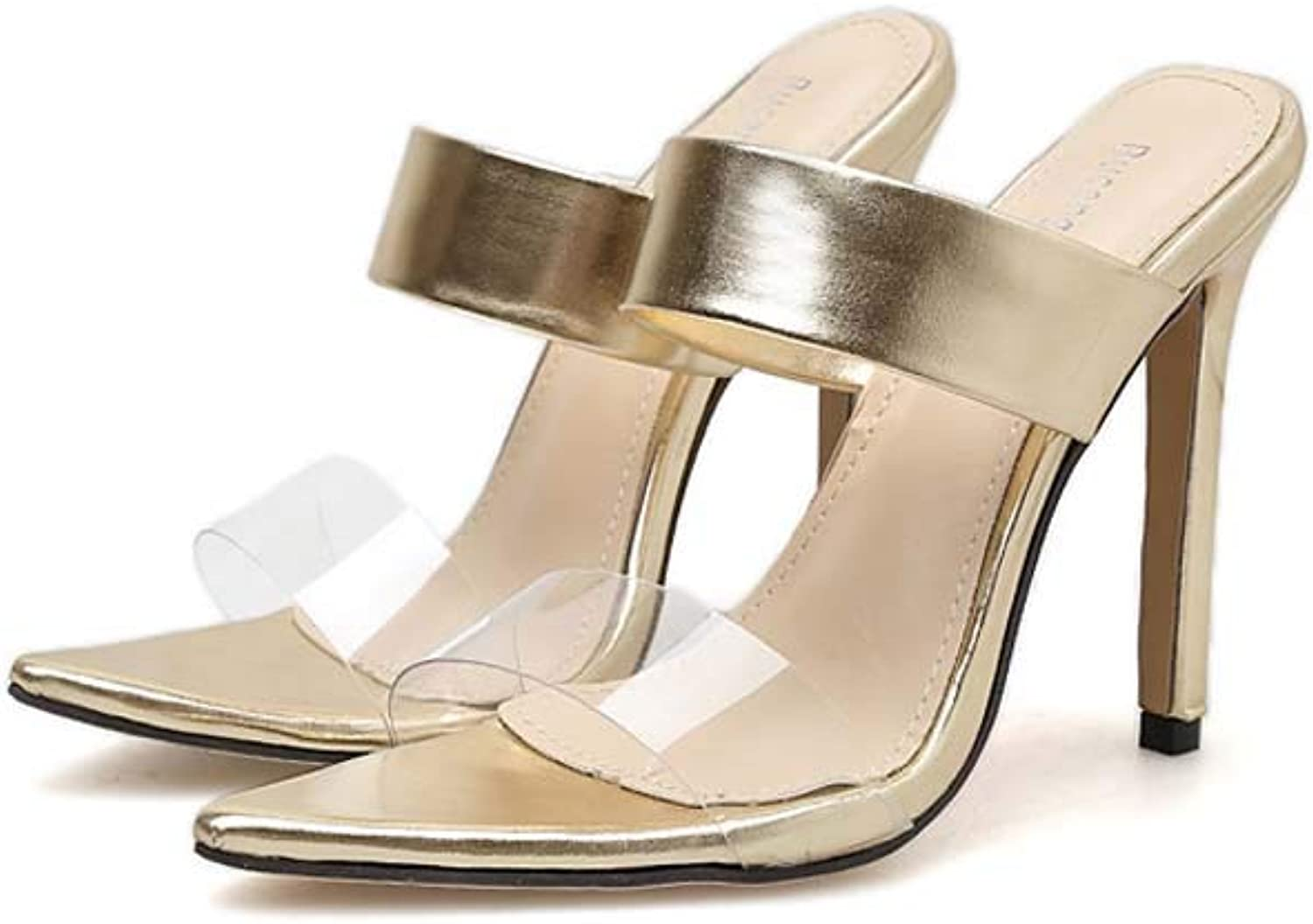 GHFJDO Damen Sommer Lucite Lucite Lucite Clear Sandalen, Pointed Open Toe Mode High Heels Hausschuhe, Loose Comfy Platform Walking Schuhe,Gold,36EU d5aecb