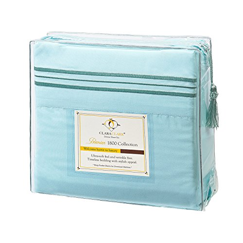 Clara Clark Premier 1800 Collection Bed Sheet Set, King, Light Blue Aqua