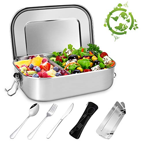 Gifort Fiambrera de Acero Inoxidable, Lunch Box Premium 1400ml con Div