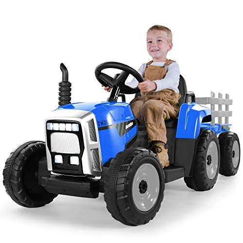 METAKOO Ride on Tractor 12V 7Ah, Kids Electric Tractor with Remote Control, 2+1 Gear Shift, 7-LED Headlight, Horn Button/ MP3/ Bluetooth/ USB Port, Toy Tractor with Trailer for Kids 3-6 Years (Blue)