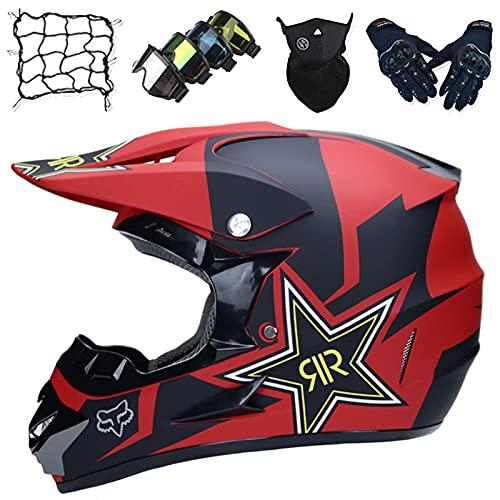 Cascos Moto, Conjunto de Cascos de Motocross para Niños con Guantes/Gafas/Máscaras/Red Elástica, Cascos de Moto para el Deporte Enduro Descenso con Forro Extraíble - con Diseño Fox - Negro