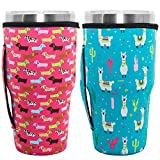 HaiMay 2 Pieces Reusable Iced Coffee Cup Sleeve Neoprene Insulated Sleeves Cup Cover Holder Idea for 30oz-32oz Tumbler Cup, Alpaca&Dog Style