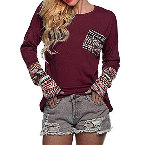 PAOMO Damen Sweatshirt Casual Lippen Muster Rundhals Langarmshirt Pullover Pulli...