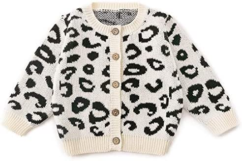 Simplee kids Baby Sweater Long Sleeve Leopard Print Cardigan Baby Cardigan Coat for Autumn Fall product image