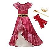 Disfraz de princesa Elena de color rojo Cosplay para niños de Avalor Elena vestido de niños sin mangas fiesta Halloween vestido de bola trajes