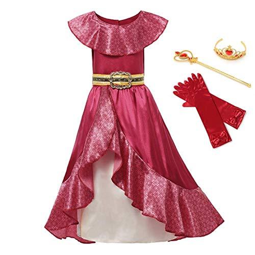 Disfraz de princesa clsica Elena rojo Cosplay de los nios de Avalor Elena vestido de los nios sin mangas fiesta Halloween vestido de baile trajes