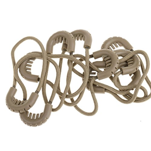 Fenteer 10x Zipper Pulls Spinal Cord Ends Cursor Lock Replacement Closure - Tan