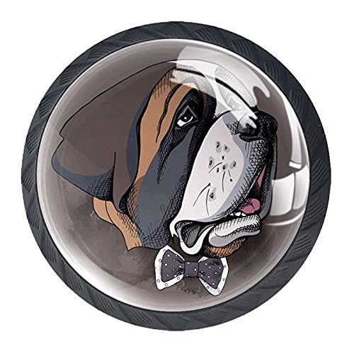 Xingruyun Pomelli Vetro Bulldog Marrone Pomelli Cassetti Mobili Armadio Comodino Pomelli per Cucina Camere 4 Pezzi 3.5×2.8CM