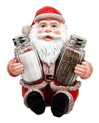 Santa Claus Christmas Holiday Salt And Pepper Shakers Holder Set