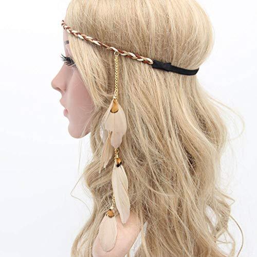 Feder Stirnband Boho Hippie Stirnband, Frauen Feder Quasten Blatt Quasten Stirnband geflochtene Hippie Stirnband Haarschmuck