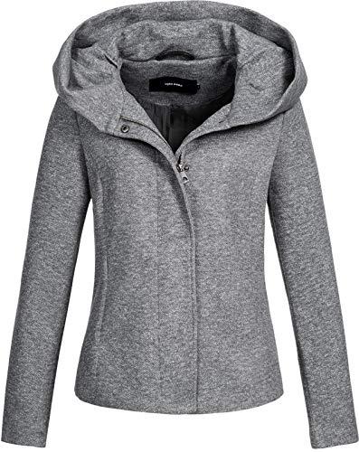 VERO MODA Damen Übergangsjacke Kapuzenjacke (S, Light Grey Melange)