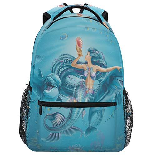 Oarencol Fantasía Sirena Delfines Shell Mochila Librería Animal Fish Daypack Viaje Senderismo Camping Escuela Bolsa Portátil