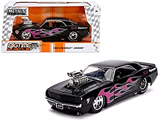 Jada New Diecast Toys Car 1: 24 W/B - Metals - Bigtime Muscle - 1969 Chevrolet Camaro with Blower (Black with Pink Flames) 30707