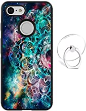 Dynippy Compatible Google Pixel 3 Case Non-Slip Shockproof Protection Plastic Silicone Rubber Hybrid Protective with Transparent Phone Ring Holder - Galaxy Mandala