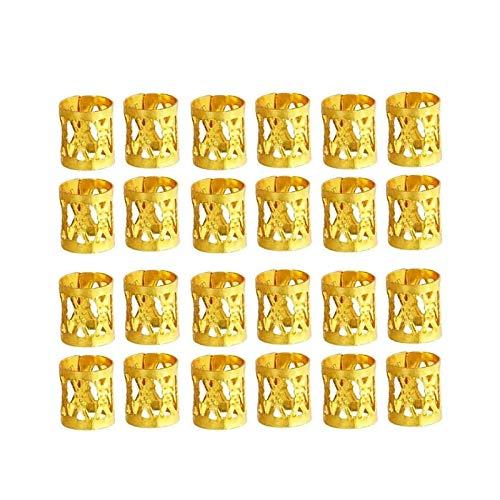 LEBQ 50 Stück Aluminium Dread Lock Verstellbar Metall Cuffs Dreadlocks Perlen Flechtet Haar Schmuck, Golden