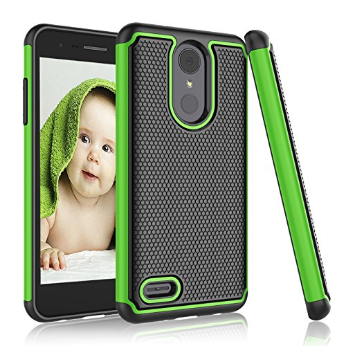 Njjex Compatible with LG Aristo 2/Aristo 3+ Plus/LG Phoenix 4/Rebel 4 LTE/Tribute Empire/Tribute Dynasty/Zone 4/Fortune 2/Rebel 3 Case, [Nveins] Hybrid Dual Layers Plastic Shell Rubber Cover [Green]