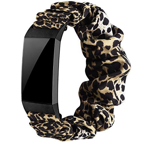 Wanme Cinturino compatibile con Fitbit Charge 4 Fitbit Charge 3, tessuto elastico, cinturino per orologi con motivo stampato, da donna (leopardo, S)