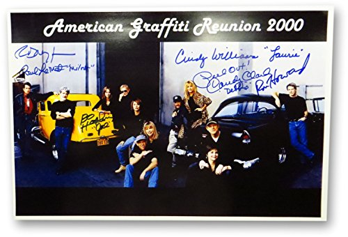 American Graffiti Cast Autographed 12X18 Photo Howard Dreyfuss Le Mat +3 JSA COA