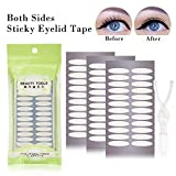 Ultra Invisible Both Sides Sticky Eyelid Tape Stickers Fiber, Perfect for Hooded, Droopy, Uneven, or Mono-eyelids-Instant Eye Lift Without Surgery (Wide)