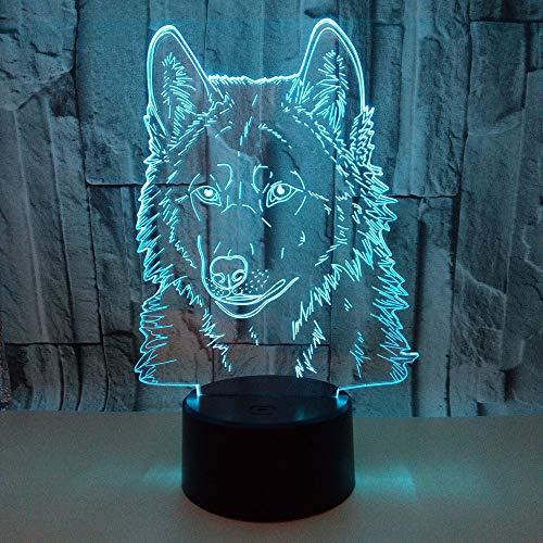 Nachtlicht 3D Illusion Wolf, Led-Nachttisch-Schreibtischlampe Für Kinder, Nachtlichter Der Optischen Täuschung Für Innen-, Schlafzimmer, Wohnzimmer, Weihnachtsdekoration