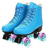 Tmpty Patines de piel sintética para mujer, con doble fila, 4 ruedas, para adultos y jóvenes principiantes (tamaño: 9, color: azul A)