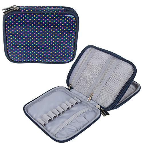Teamoy Crochet Hook Case, Organizer Zipper Bag with Web Pockets for Various Crochet Needles and Knitting Accessories, Well Made, Small Volume and Easy to Carry, Colorful Dots(No Accessories Included)
