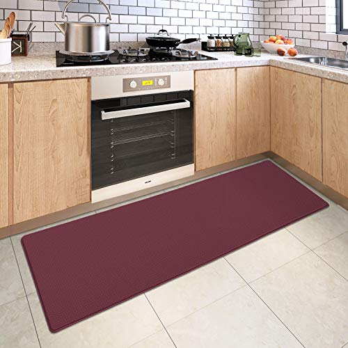 DEXI Kitchen Rug Cushioned Anti Fatigue Kitchen Mats, 2/5Inch Waterproof Non Skid Memory Foam Standing Mat, 17x47, PaleVioletRed