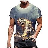 Camiseta de manga corta con estampado de cuello redondo en 3D para hombres y mujeres y jóvenes, Gris, Medium