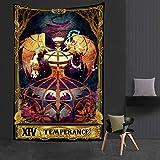 KHKJ Psicodélico Mujer Luna Tapiz Flor Colgante de Pared Habitación Cielo Alfombra Dormitorio Tapices Arte Decoración del hogar Tarot Tapiz A19 200x150cm