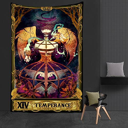 KHKJ Psicodélico Mujer Luna Tapiz Flor Colgante de Pared Habitación Cielo Alfombra Dormitorio Tapices Arte Decoración del hogar Tarot Tapiz A19 230x180cm