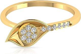 Anello di fidanzamento in oro semplice da 1/3 ct, con diamante a grappolo, con petalo di fiore, anello di fidanzamento in ...
